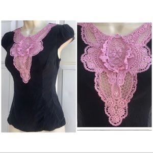 Anthropologie Tops - Nanette Lepore Victorian Bib Pink Lace Silk Top 0